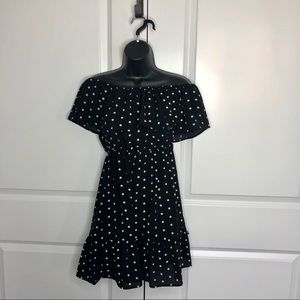 NWT Forever 21 Polka Dot Off Ruffle Shoulder Dress